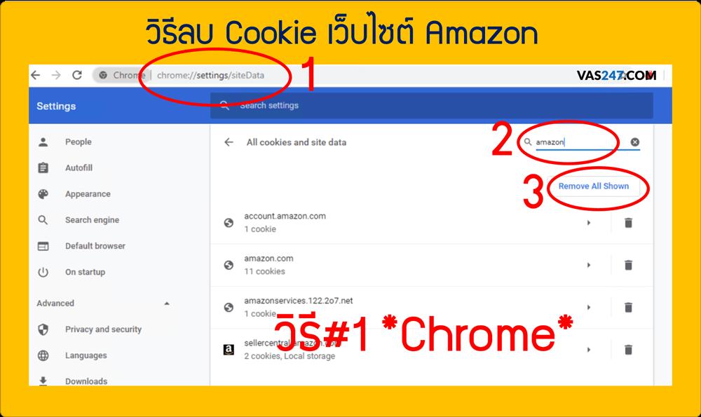 วิธี ลบ clear cookie คุกกี้ amazon two step verification otp