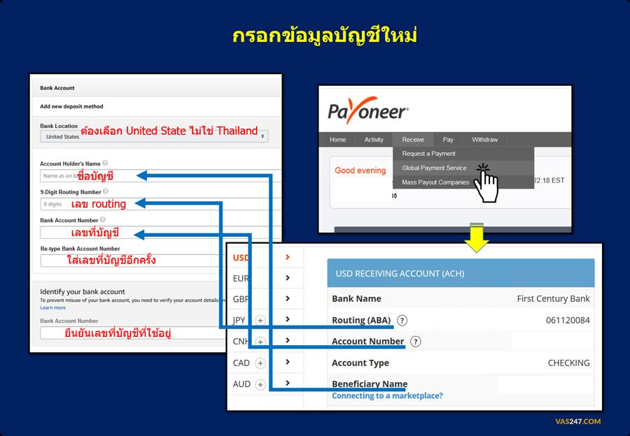 ขั้นตอน เปลี่ยน บัญขี ธนาคาร รับเงิน Amazon ด้วย Payoneer Global Payment Service