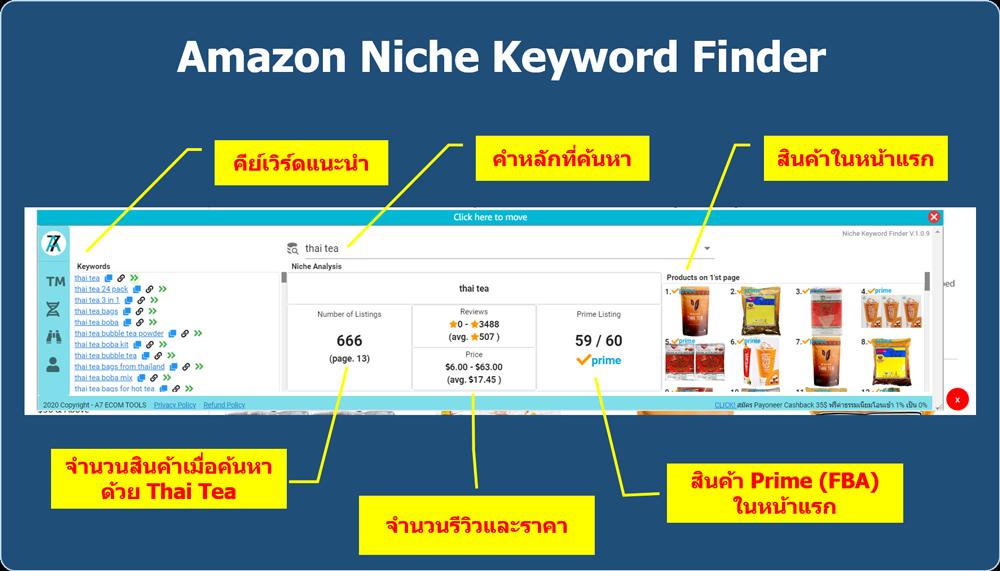 หา keyword amazon คีย์เวิด สินค้า niche keyword